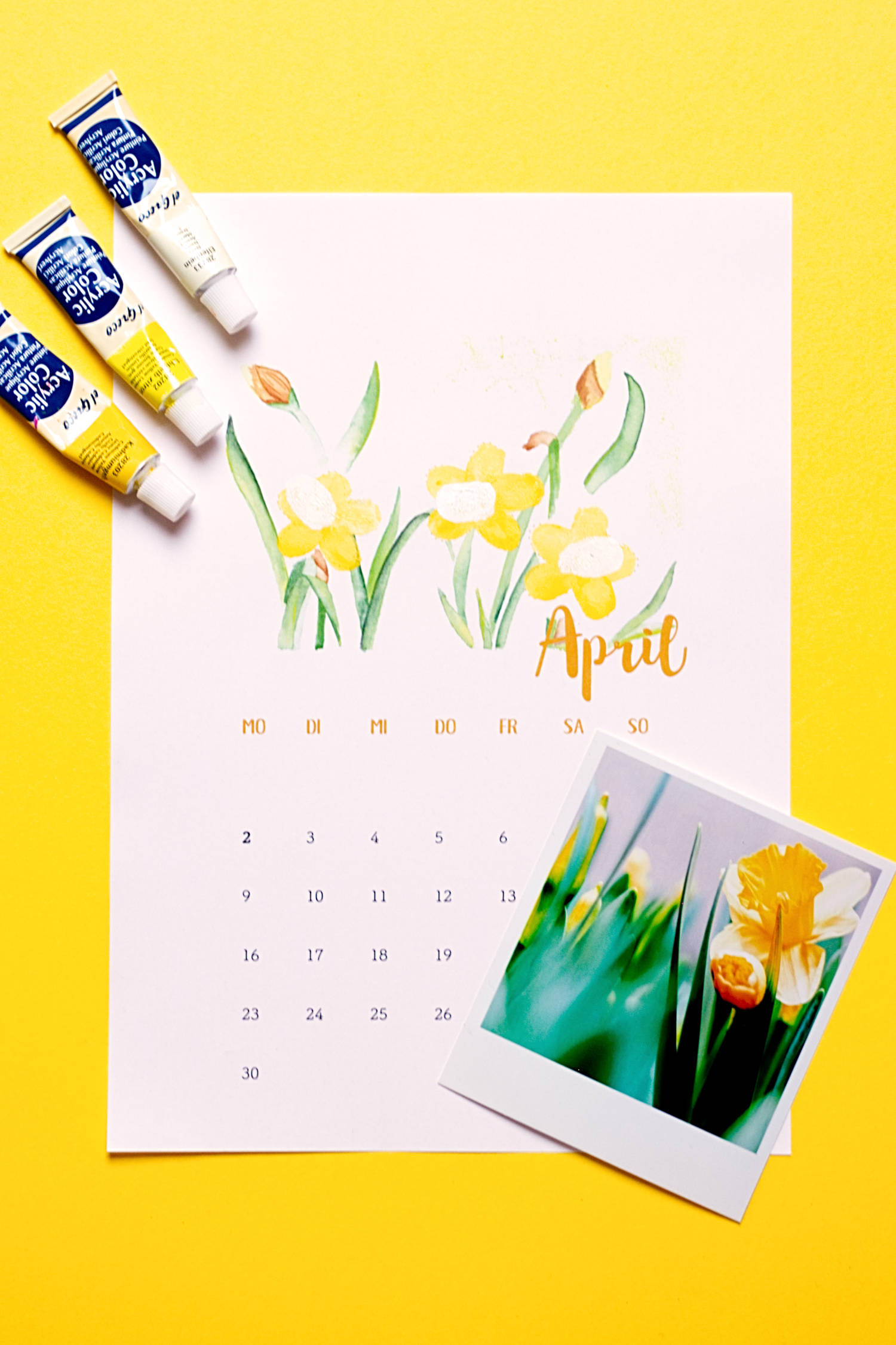 April - Kalender 2018 zum Fingerstempeln
